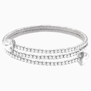 Bracelet-jonc Twisty, blanc, Métal rhodié - Swarovski, 5528444