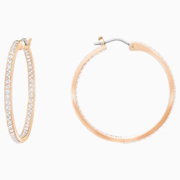 Orecchini a cerchio Sommerset, bianco, Placcato oro rosa - Swarovski, 5528459