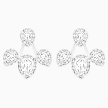 Laina Pierced Earring Jackets, White, Rhodium plated - Swarovski, 5528494
