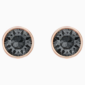 Lattitude Chain Pierced Earrings, Black, Rose-gold tone plated - Swarovski, 5528512