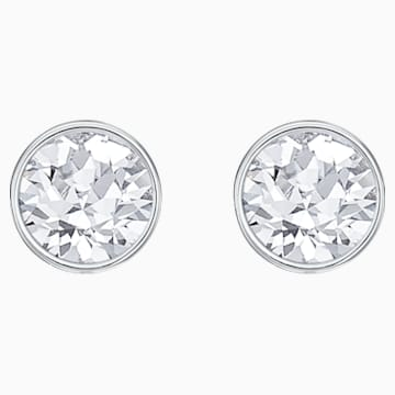 Lattitude Chain Pierced Earrings, White, Rhodium plated - Swarovski, 5528513