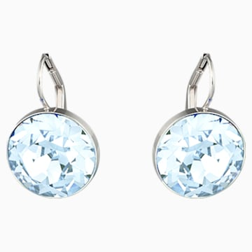 Bella Pierced Earrings, Blue, Rhodium plated - Swarovski, 5528515