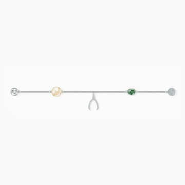 Strand Swarovski Remix Collection Wishbone, vert, métal rhodié - Swarovski, 5528718