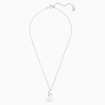 Gabriella Pearl Pendant, White, Rhodium plated - Swarovski, 5528731