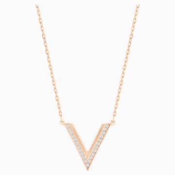 Delta 项链, 白色, 镀玫瑰金色调 - Swarovski, 5528910