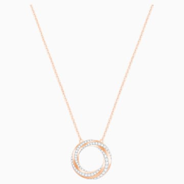 Hilt Necklace, White, Rose-gold tone plated - Swarovski, 5528930