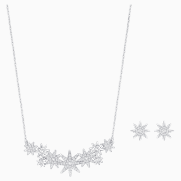 Fizzy Set, White, Rhodium plated - Swarovski, 5528944