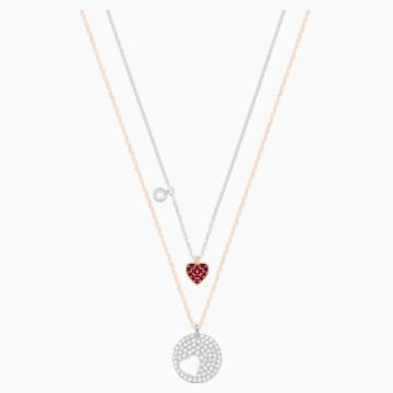 Pendente Crystal Wishes Heart, rosso, Mix di placcature - Swarovski, 5529569