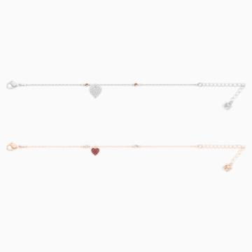 Crystal Wishes Heart 套装, 红色, 多种金属润饰 - Swarovski, 5529600