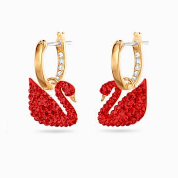 Iconic Swan 穿孔耳环, 红色, 镀金色调 - Swarovski, 5529969