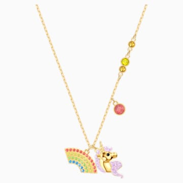 Out of this World Unicorn Necklace, Multi-colored, Gold-tone plated - Swarovski, 5531525