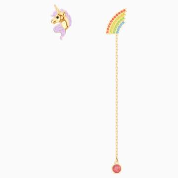 Out of this World Unicorn 穿孔耳環, 多色設計, 鍍金色色調 - Swarovski, 5531528