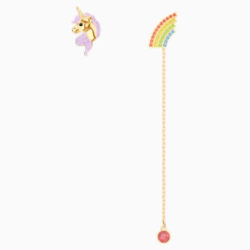 Out of this World Unicorn Earrings, Multi-colored, Gold-tone plated - Swarovski, 5531528