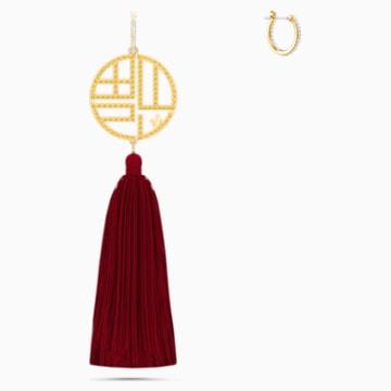 Full Blessing Fu Pierced Earrings, Red, Gold-tone plated - Swarovski, 5531882