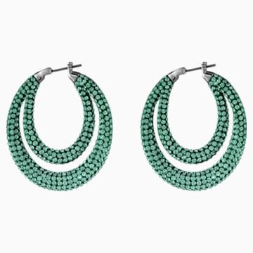 Créoles Tigris, vert, métal plaqué ruthénium - Swarovski, 5532734