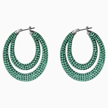 Orecchini a cerchio Tigris, verde, placcato rutenio - Swarovski, 5532734