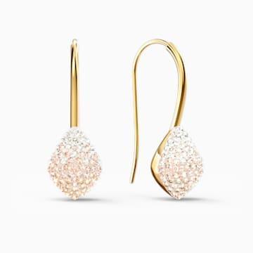 Fun Hook 穿孔耳環, 粉紅色, 鍍金色色調 - Swarovski, 5533022