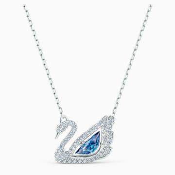 Dancing Swan 项链, 蓝色, 镀铑 - Swarovski, 5533397