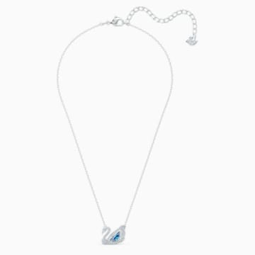 Dancing Swan Necklace, Blue, Rhodium plated - Swarovski, 5533397