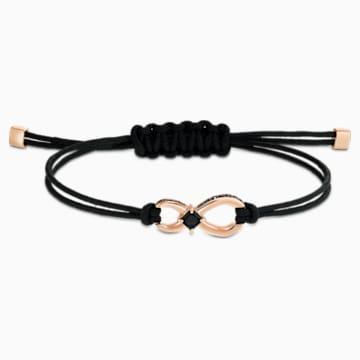 Swarovski Infinity Bracelet, Black, Rose-gold tone plated - Swarovski, 5533721