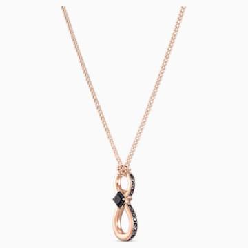 Swarovski Infinity 链坠, 黑色, 镀玫瑰金色调 - Swarovski, 5533722