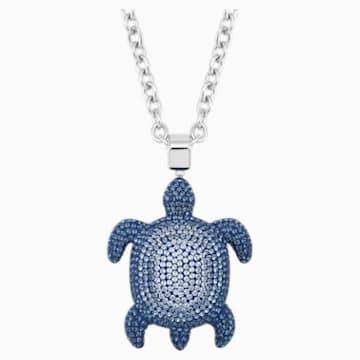 Mustique Sea Life Turtle 鏈墜, 大碼, 藍色, 鍍鈀色 - Swarovski, 5533737