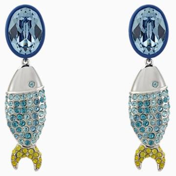 Mustique Sea Life Fish 穿孔耳環, 藍色, 鍍鈀色 - Swarovski, 5533738
