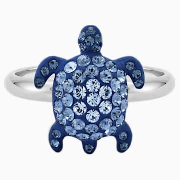 Mustique Sea Life Turtle Ring, Small, Blue, Palladium plated - Swarovski, 5533743