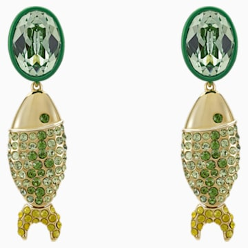 Mustique Sea Life Fish 穿孔耳環, 綠色, 鍍金色色調 - Swarovski, 5533747