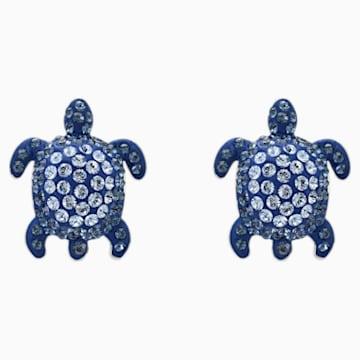 Boucles d'oreilles Mustique Sea Life Turtle, bleu, métal plaqué palladium - Swarovski, 5533748