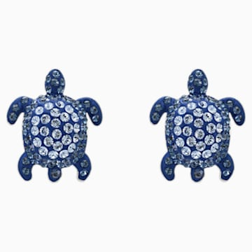 Mustique Sea Life Turtle İğneli Küpeler, Mavi, Paladyum kaplama - Swarovski, 5533748