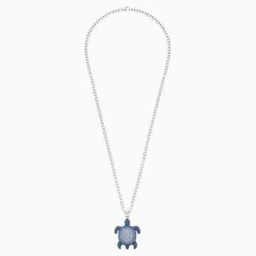 Mustique Sea Life Turtle Pendant, Small, Blue, Palladium plated - Swarovski, 5533756