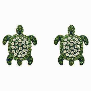 Pendientes Mustique Sea Life Turtle, verde, baño tono oro - Swarovski, 5533757