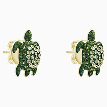 Mustique Sea Life Turtle Pierced Earrings, Green, Gold-tone plated - Swarovski, 5533757