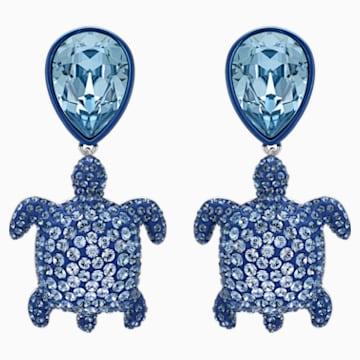 Mustique Sea Life Turtle 穿孔耳環, 藍色, 鍍鈀色 - Swarovski, 5533760