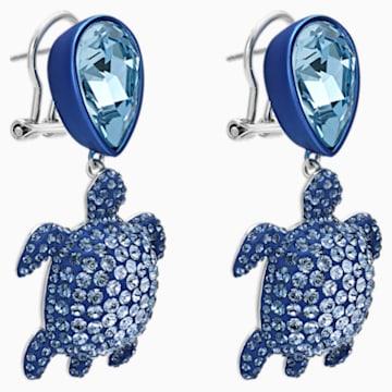 Boucles d'oreilles Mustique Sea Life Turtle, bleu, métal plaqué palladium - Swarovski, 5533760