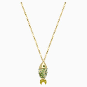Mustique Sea Life Fish Pendant, Green, Gold-tone plated - Swarovski, 5533761