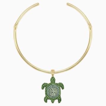 Mustique Sea Life Turtle merev nyaklánc, zöld, arany árnyalatú bevonattal - Swarovski, 5533764