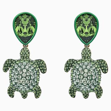 Pendientes Mustique Sea Life Turtle, verde, baño tono oro - Swarovski, 5533766