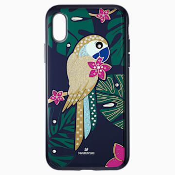 Custodia per smartphone con bordi protettivi Tropical Parrot, iPhone® XS Max, multicolore scuro - Swarovski, 5533973