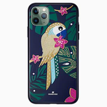 Custodia per smartphone con bordi protettivi Tropical Parrot, iPhone® 11 Pro Max, multicolore scuro - Swarovski, 5533976