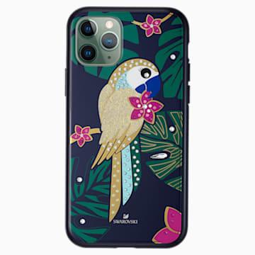 Custodia per smartphone con bordi protettivi Tropical Parrot, iPhone® 11 Pro, multicolore scuro - Swarovski, 5534015
