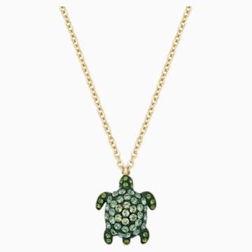 Mustique Sea Life Turtle 鏈墜, 細碼, 綠色, 鍍金色色調 - Swarovski, 5534341