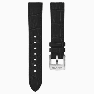 20mm Watch strap, Leather with stitching, Black, Stainless Steel - Swarovski, 5534393