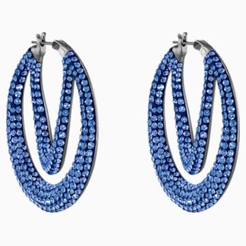 Pendientes de aro Tigris, azul, baño de rutenio - Swarovski, 5534514