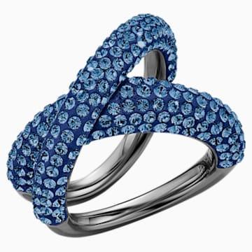 Tigris 戒指, 藍色, 鍍黑鉻色 - Swarovski, 5534533