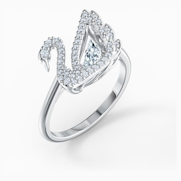 Dancing Swan Ring, White, Rhodium plated - Swarovski, 5534842
