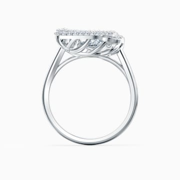 Dancing Swan Ring, White, Rhodium plated - Swarovski, 5534844