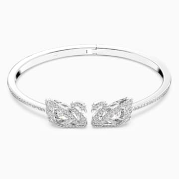 Dancing Swan Bangle, White, Rhodium plated - Swarovski, 5534849