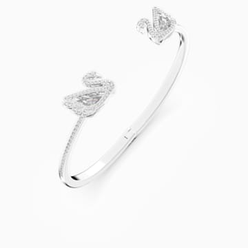 Dancing Swan Bangle, White, Rhodium plated - Swarovski, 5534850